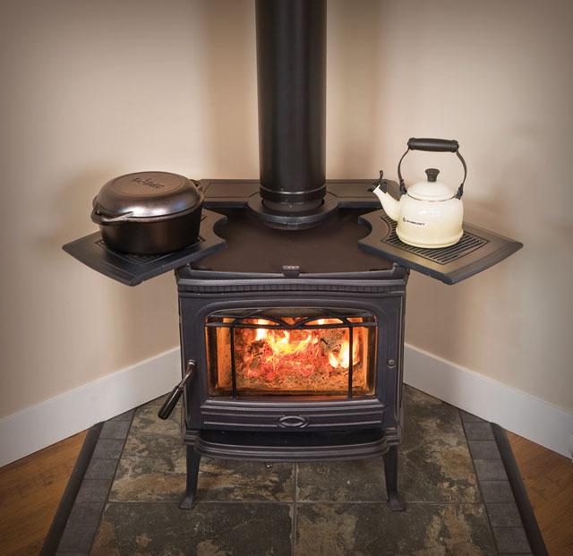 ... alderlea t4 woodstove with warming shelves ... - Wood Stove Chimney Cap - Wood Flooring